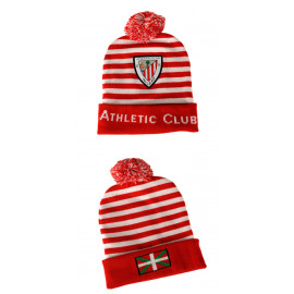 STRIPED EMBLEM HAT WITH POMPOM