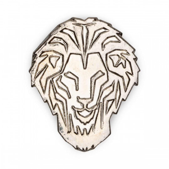 SHINY SILVER LION BADGE